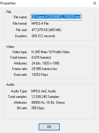 and this is what is on video properties  on vs video line