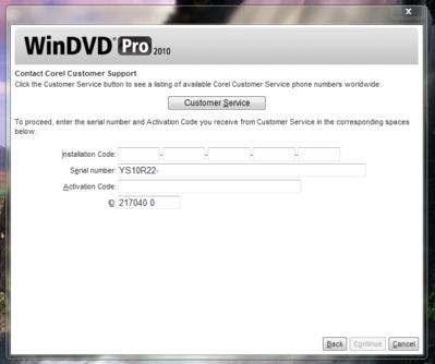 corel windvd pro 2010 activation code